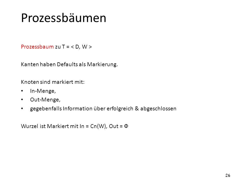 Prozessbäumen Prozessbaum zu T = < D, W >