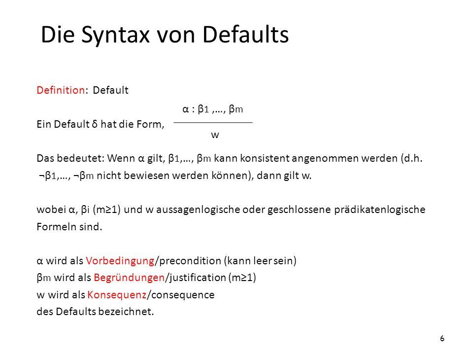 Die Syntax von Defaults