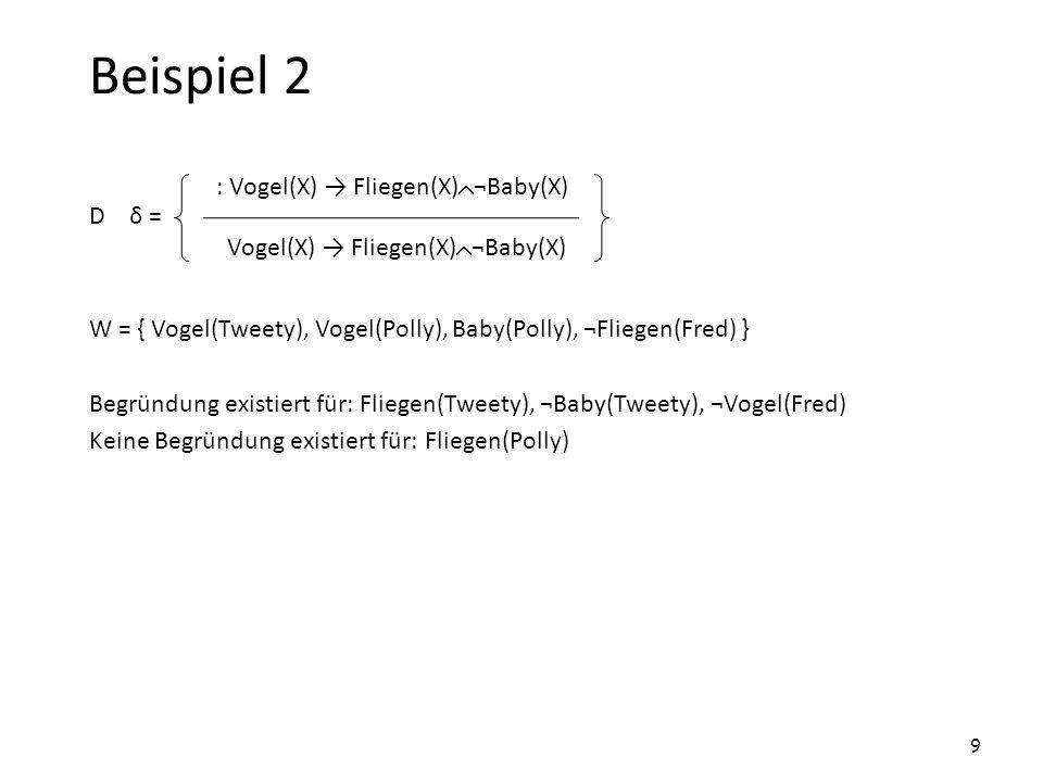 Beispiel 2 : Vogel(X) → Fliegen(X)¬Baby(X)