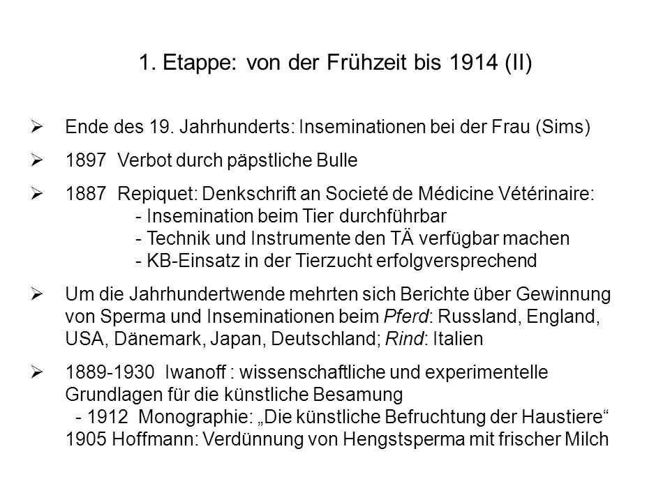 1. Etappe: von der Frühzeit bis 1914 (II)