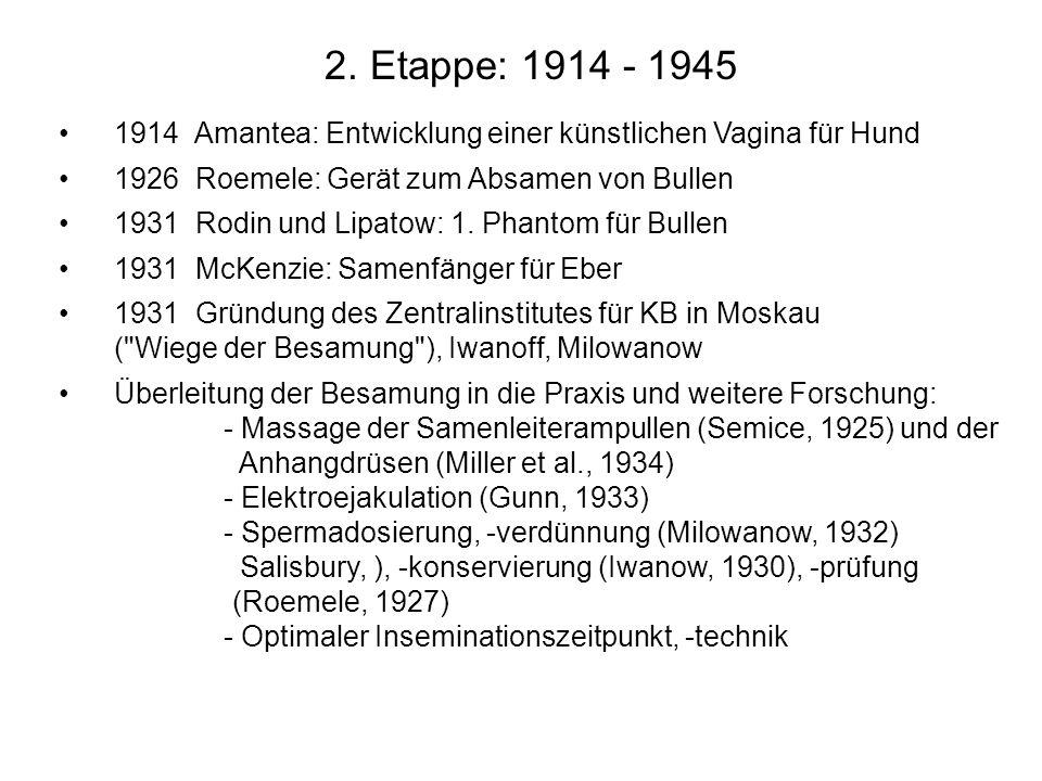 2. Etappe: 1914 - 19451914 Amantea: Entwicklung einer künstlichen Vagina für Hund. 1926 Roemele: Gerät zum Absamen von Bullen.