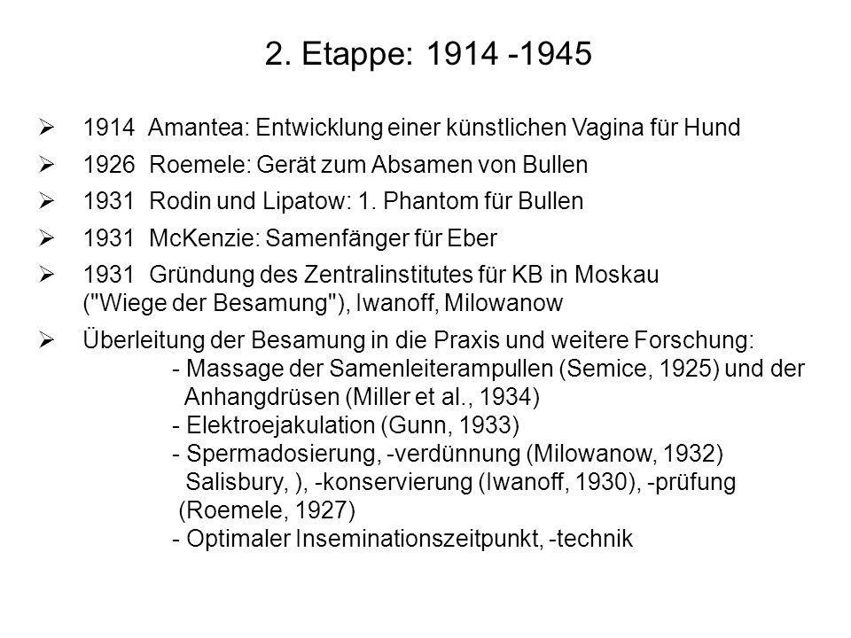 2. Etappe: 1914 -1945 1914 Amantea: Entwicklung einer künstlichen Vagina für Hund. 1926 Roemele: Gerät zum Absamen von Bullen.