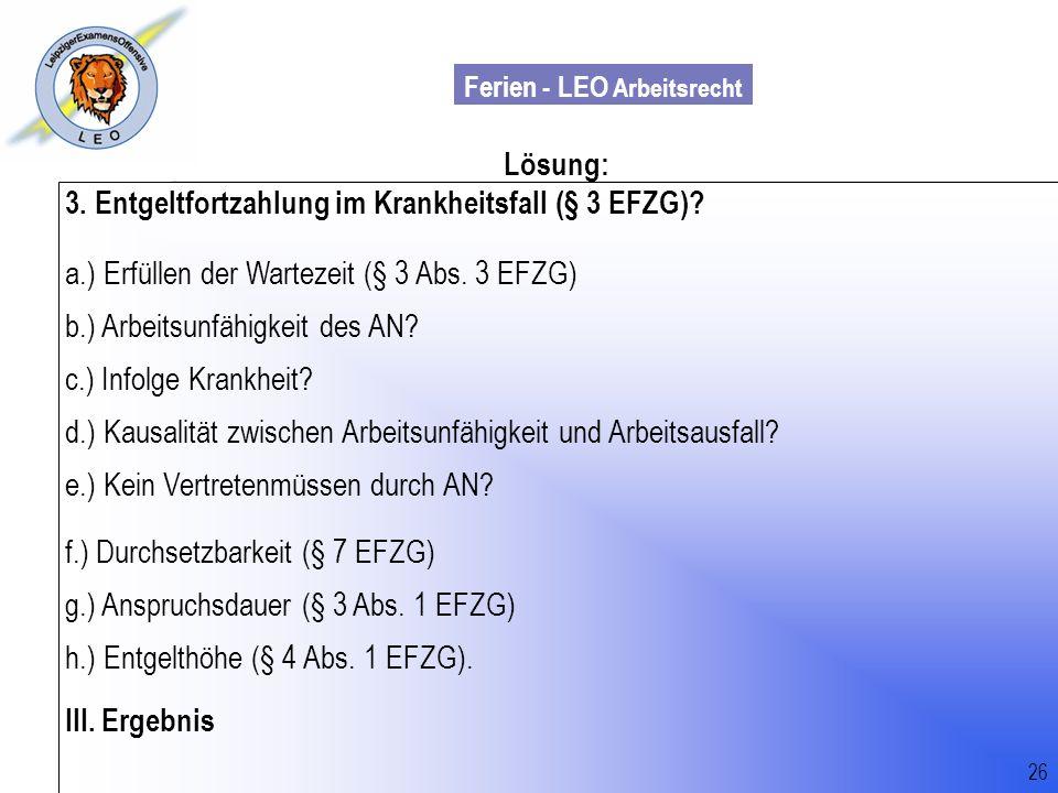 3. Entgeltfortzahlung im Krankheitsfall (§ 3 EFZG)