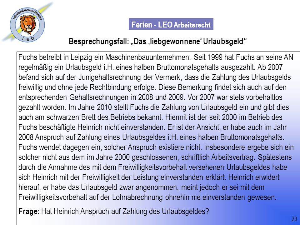 """Besprechungsfall: """"Das 'liebgewonnene' Urlaubsgeld"""