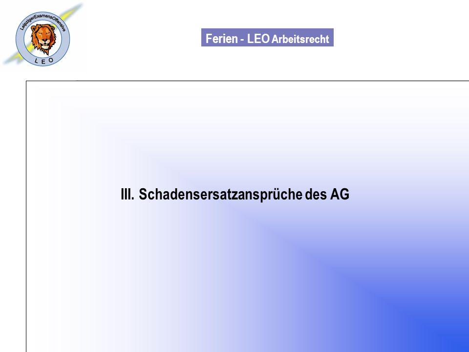 III. Schadensersatzansprüche des AG