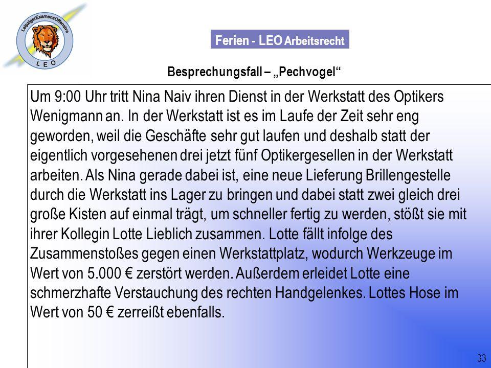 """Besprechungsfall – """"Pechvogel"""