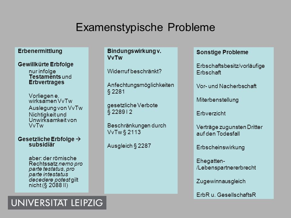 Examenstypische Probleme