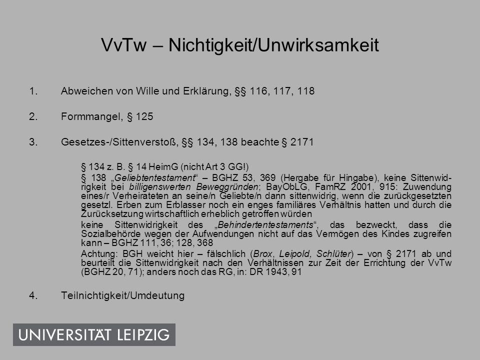 VvTw – Nichtigkeit/Unwirksamkeit