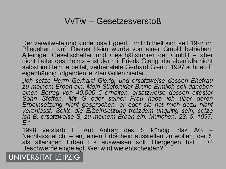 VvTw – Gesetzesverstoß