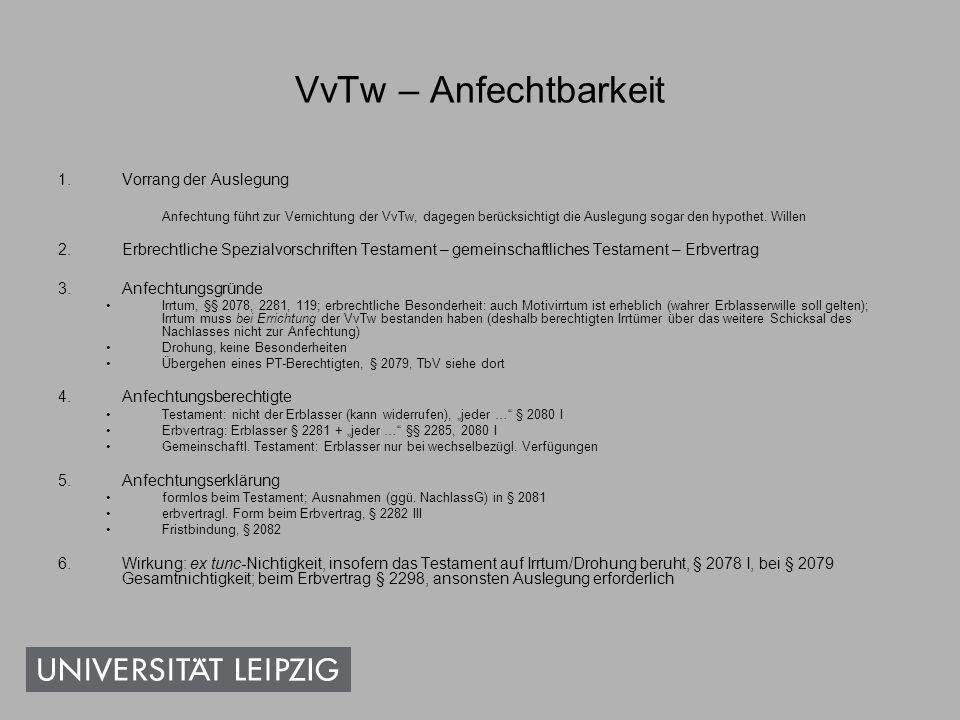VvTw – Anfechtbarkeit Vorrang der Auslegung