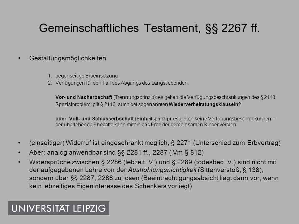 Gemeinschaftliches Testament, §§ 2267 ff.