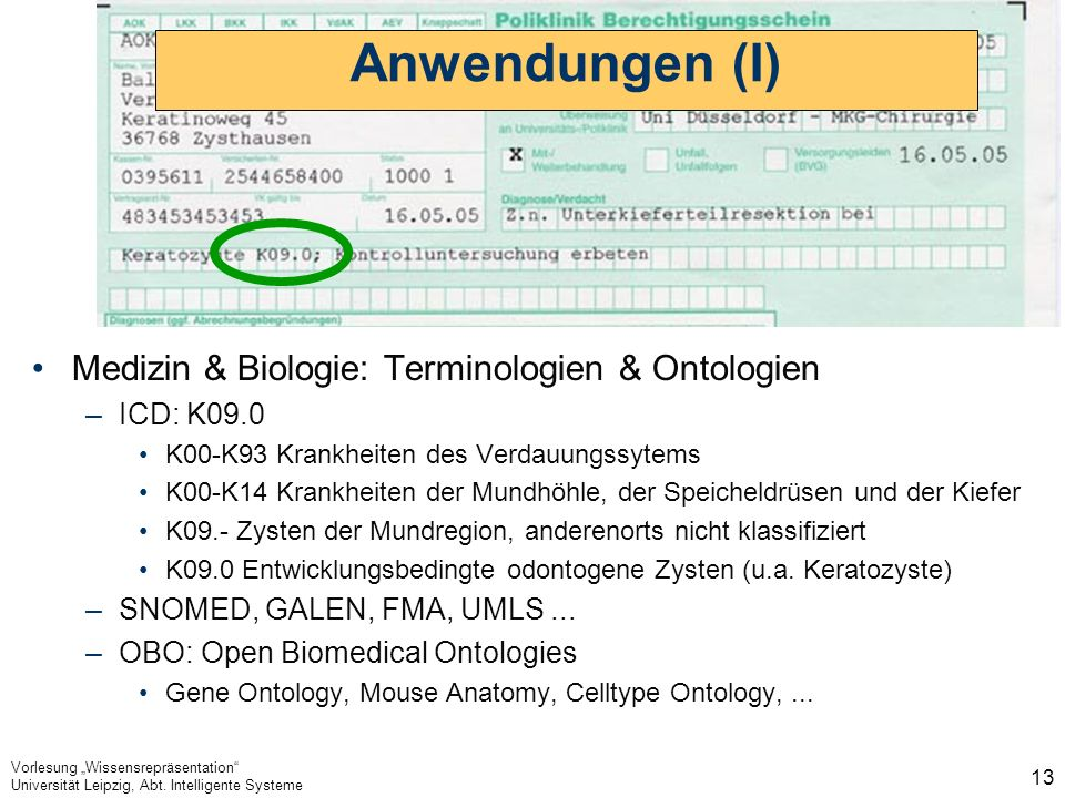 Anwendungen (I) Medizin & Biologie: Terminologien & Ontologien