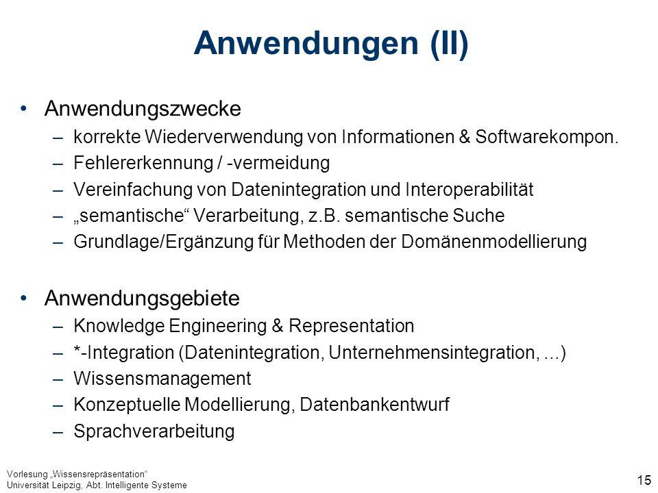 Anwendungen (II) Anwendungszwecke Anwendungsgebiete