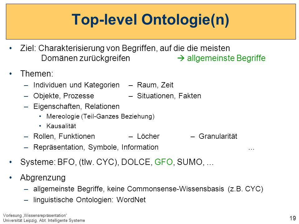 Top-level Ontologie(n)