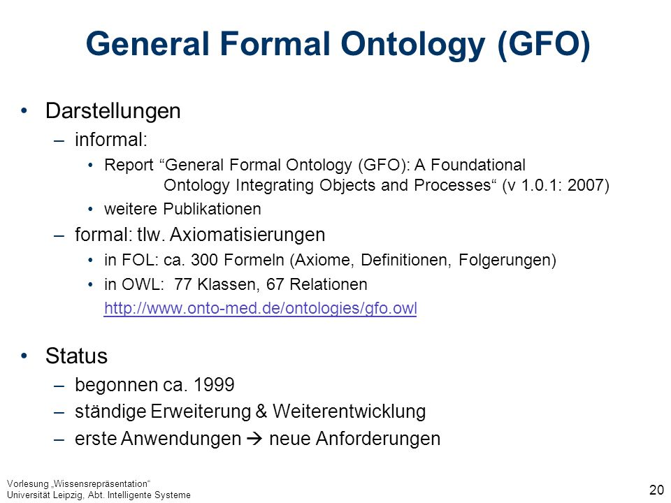General Formal Ontology (GFO)
