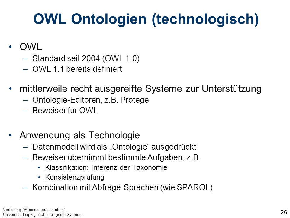 OWL Ontologien (technologisch)
