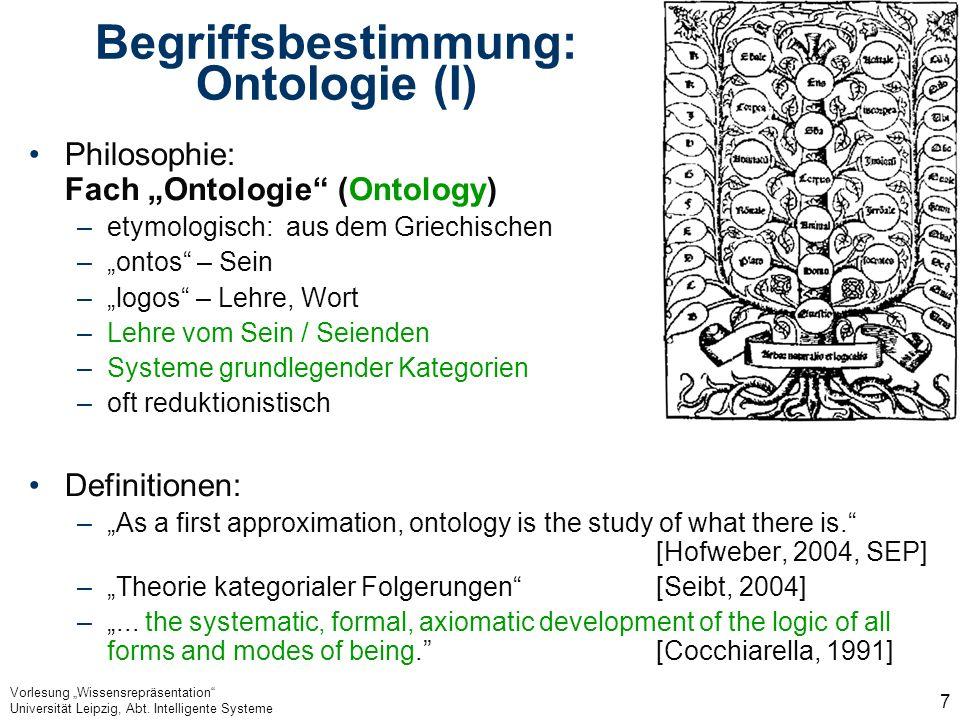 Begriffsbestimmung: Ontologie (I)