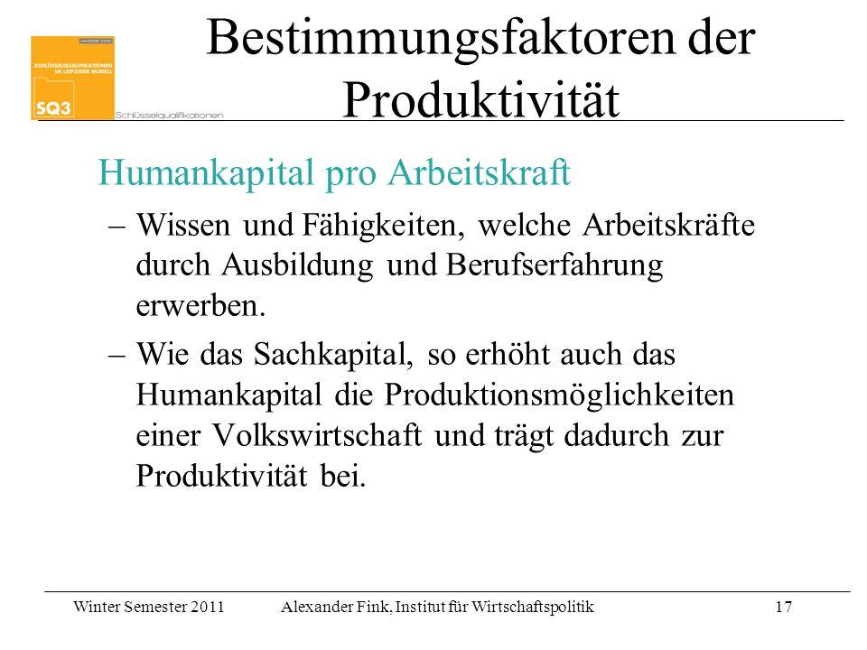Bestimmungsfaktoren der Produktivität