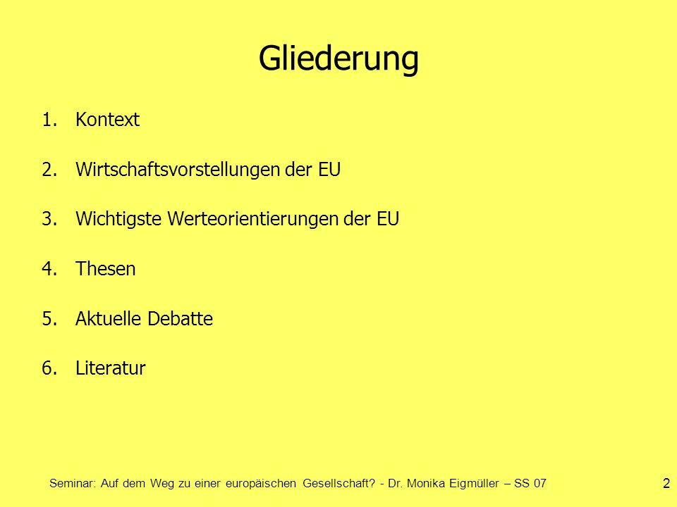 Gliederung Kontext Wirtschaftsvorstellungen der EU