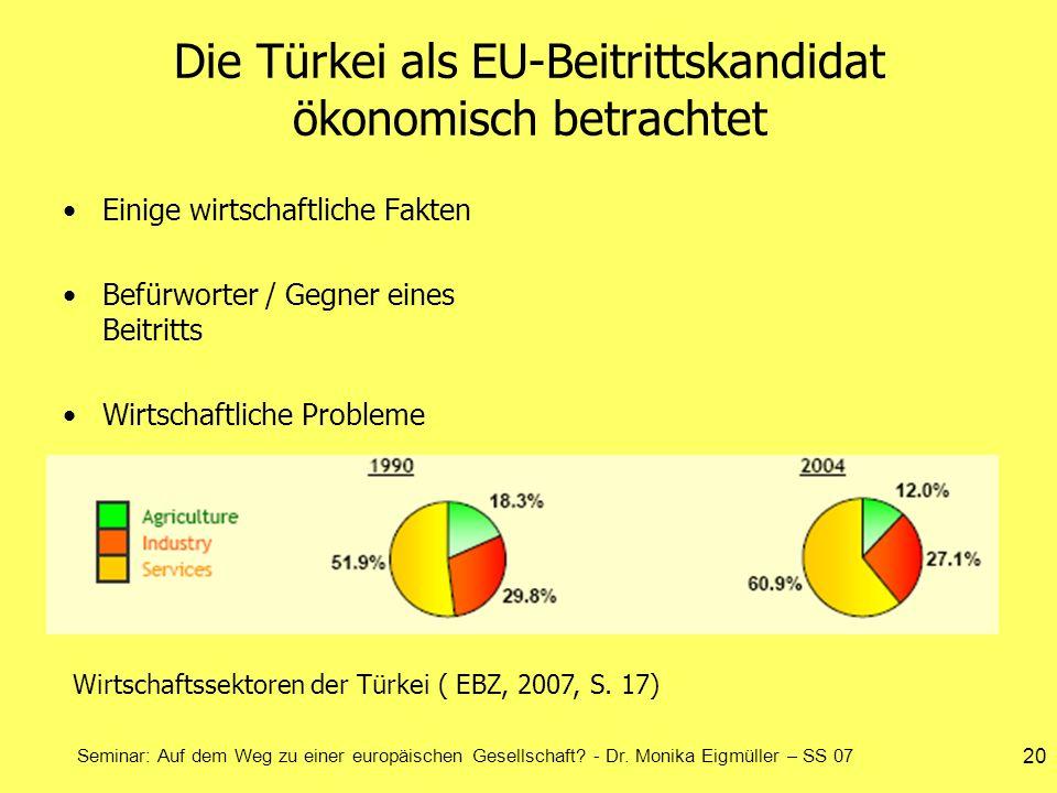 Die Türkei als EU-Beitrittskandidat ökonomisch betrachtet