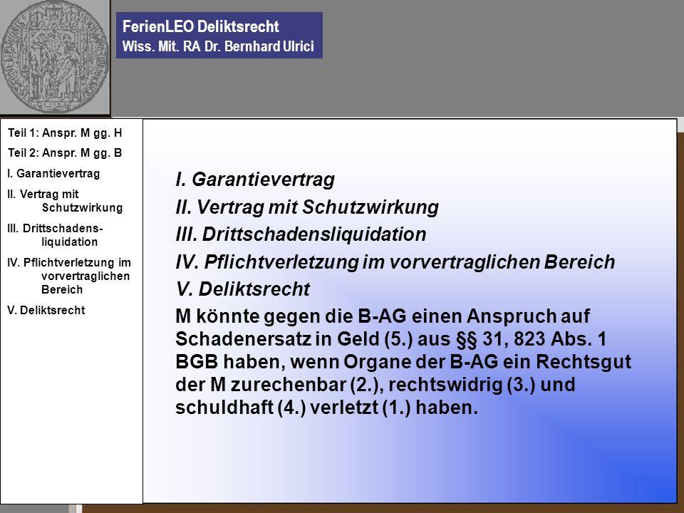 II. Vertrag mit Schutzwirkung III. Drittschadensliquidation