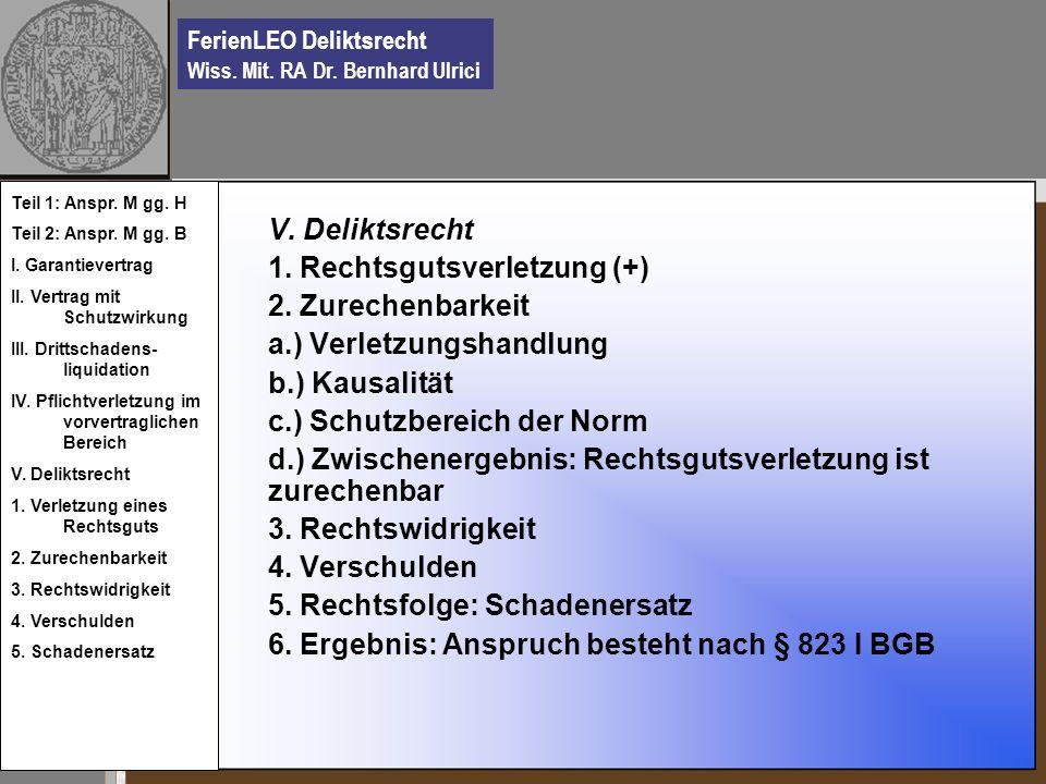 1. Rechtsgutsverletzung (+) 2. Zurechenbarkeit a.) Verletzungshandlung