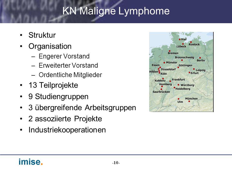 KN Maligne Lymphome Struktur Organisation 13 Teilprojekte