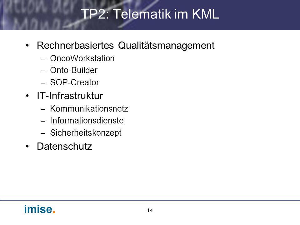 TP2: Telematik im KML Rechnerbasiertes Qualitätsmanagement