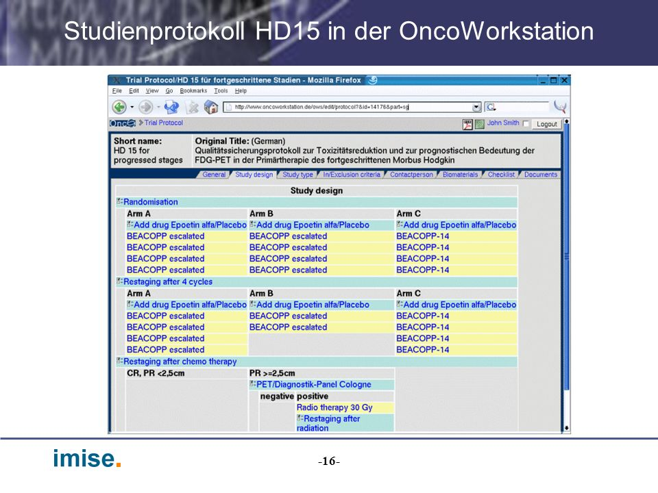 Studienprotokoll HD15 in der OncoWorkstation