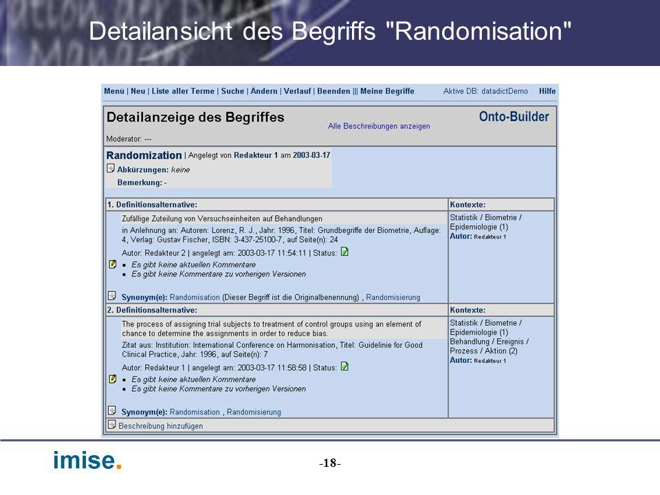 Detailansicht des Begriffs Randomisation