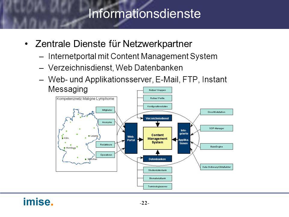 Informationsdienste Zentrale Dienste für Netzwerkpartner