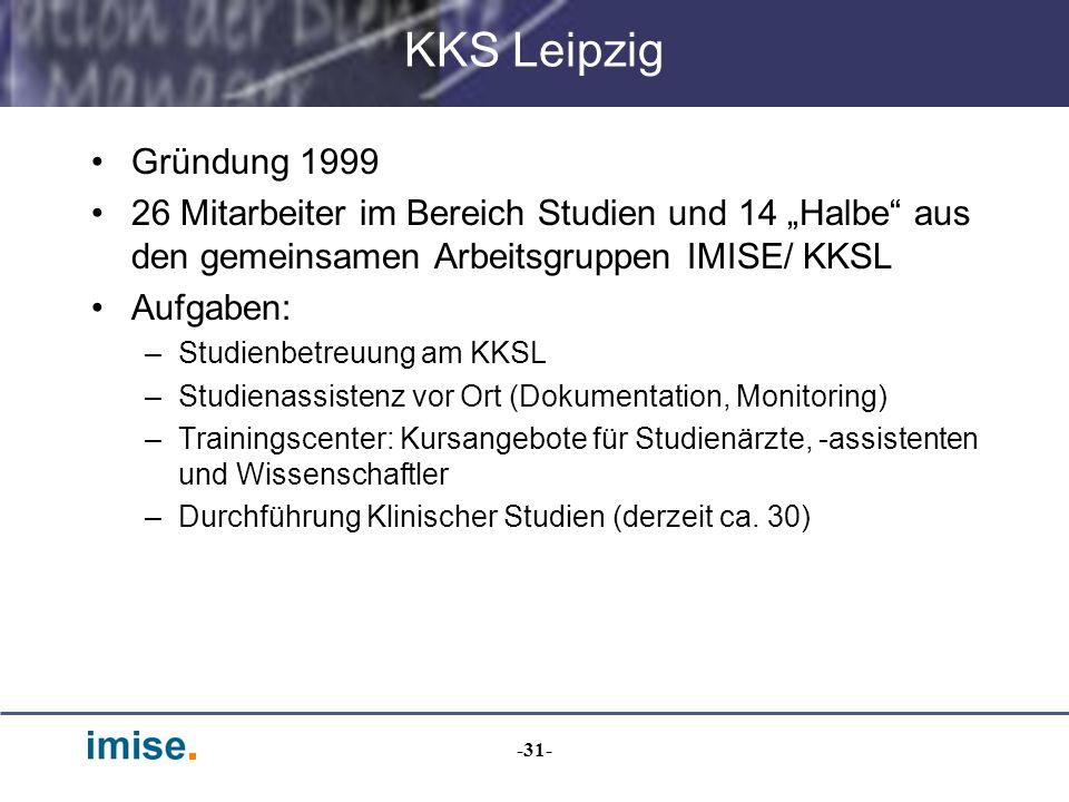 """KKS Leipzig Gründung 1999. 26 Mitarbeiter im Bereich Studien und 14 """"Halbe aus den gemeinsamen Arbeitsgruppen IMISE/ KKSL."""