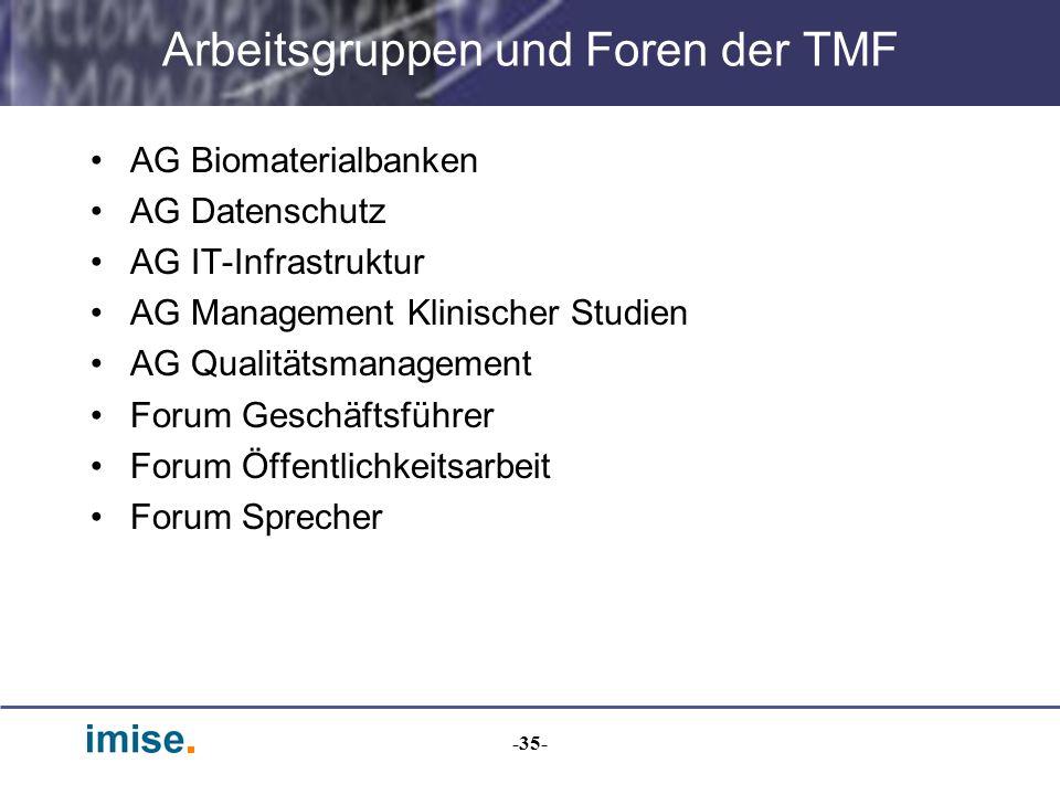 Arbeitsgruppen und Foren der TMF