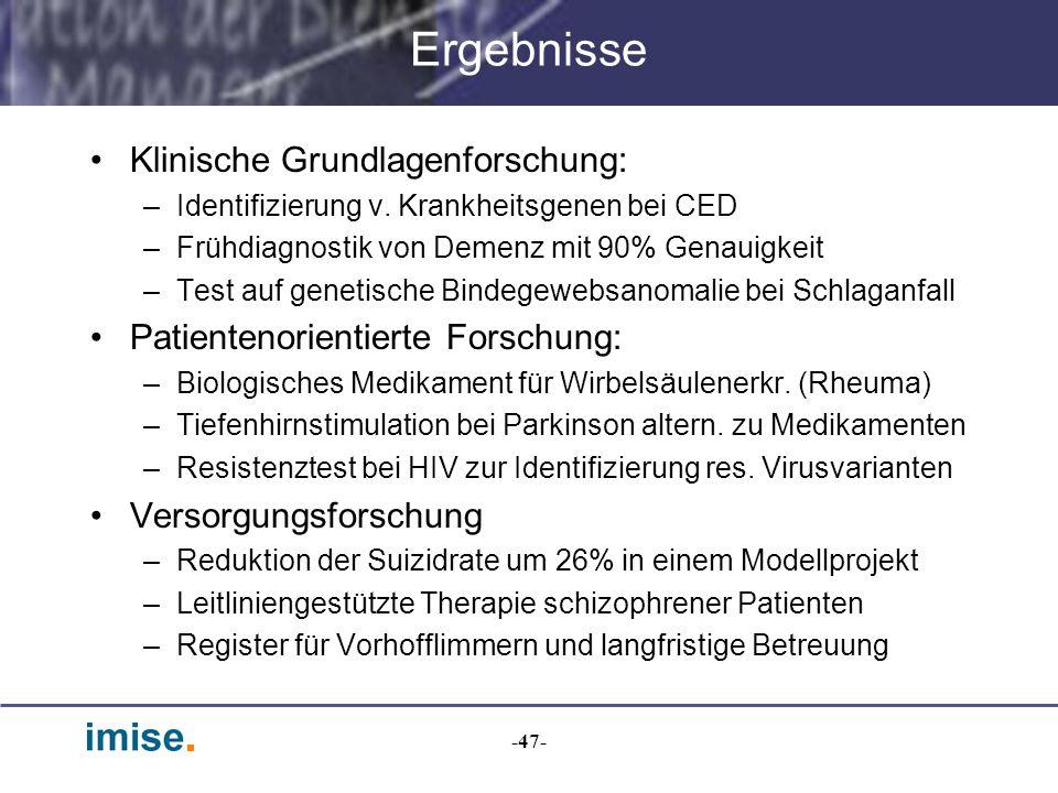Ergebnisse Klinische Grundlagenforschung: