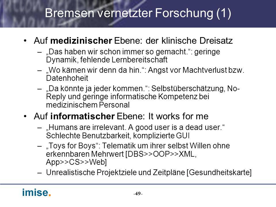 Bremsen vernetzter Forschung (1)