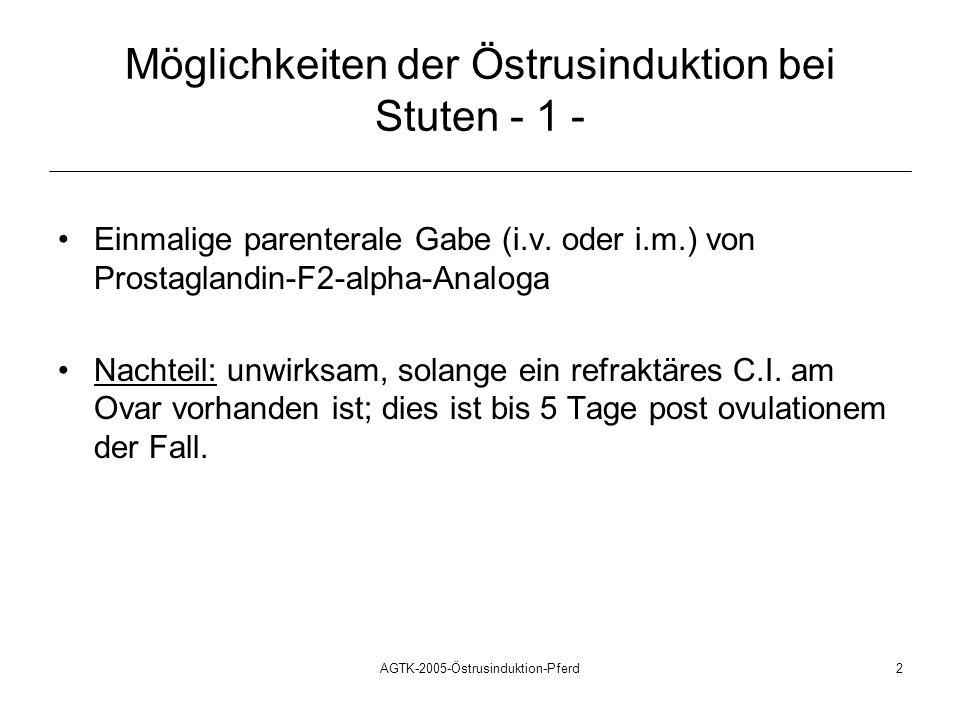 Möglichkeiten der Östrusinduktion bei Stuten - 1 -