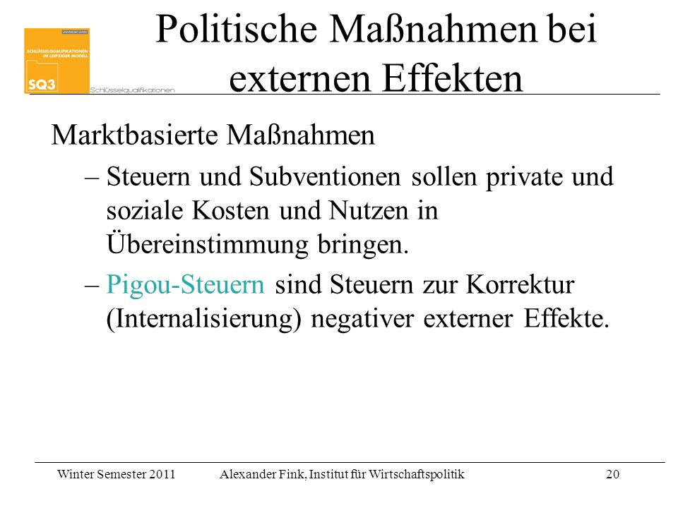 Politische Maßnahmen bei externen Effekten