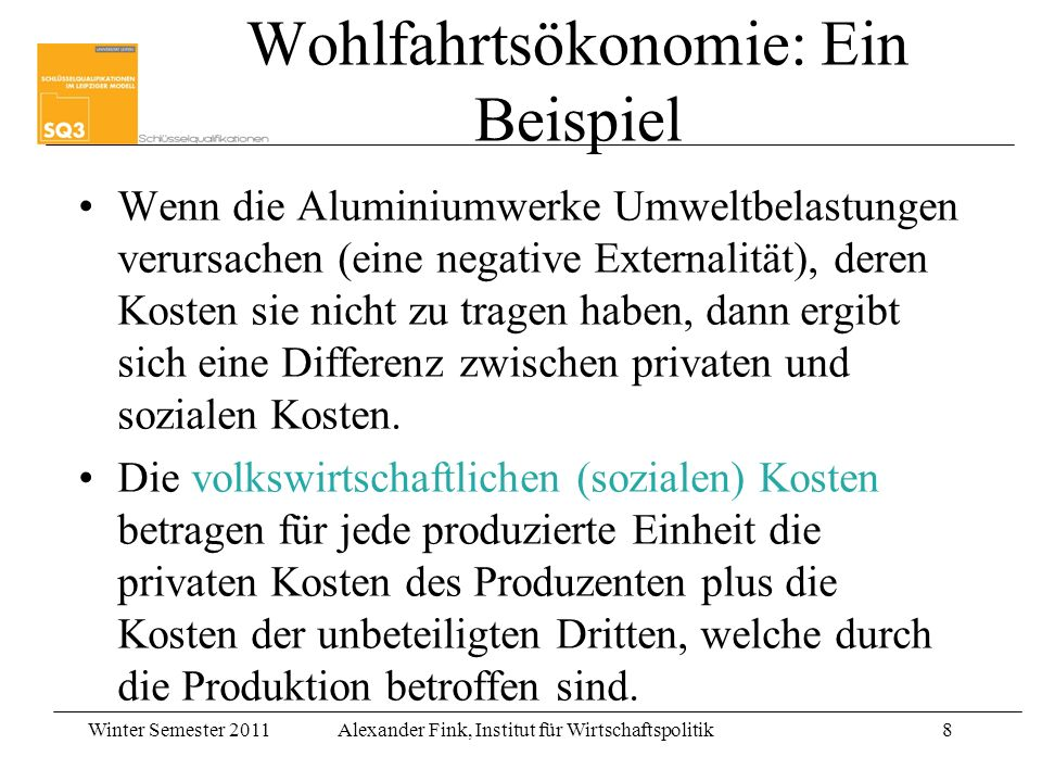 Wohlfahrtsökonomie: Ein Beispiel