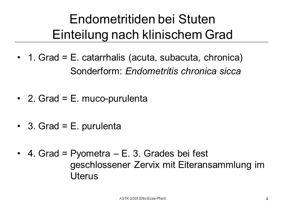 Endometritiden bei Stuten Einteilung nach klinischem Grad