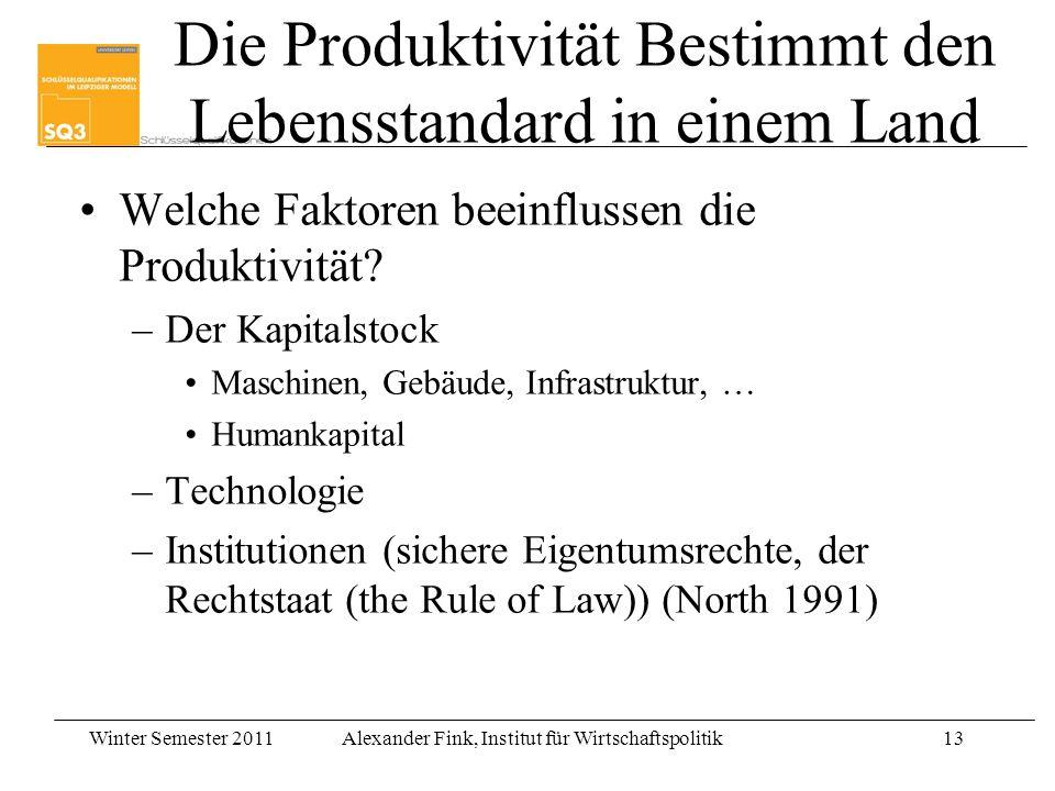 Die Produktivität Bestimmt den Lebensstandard in einem Land
