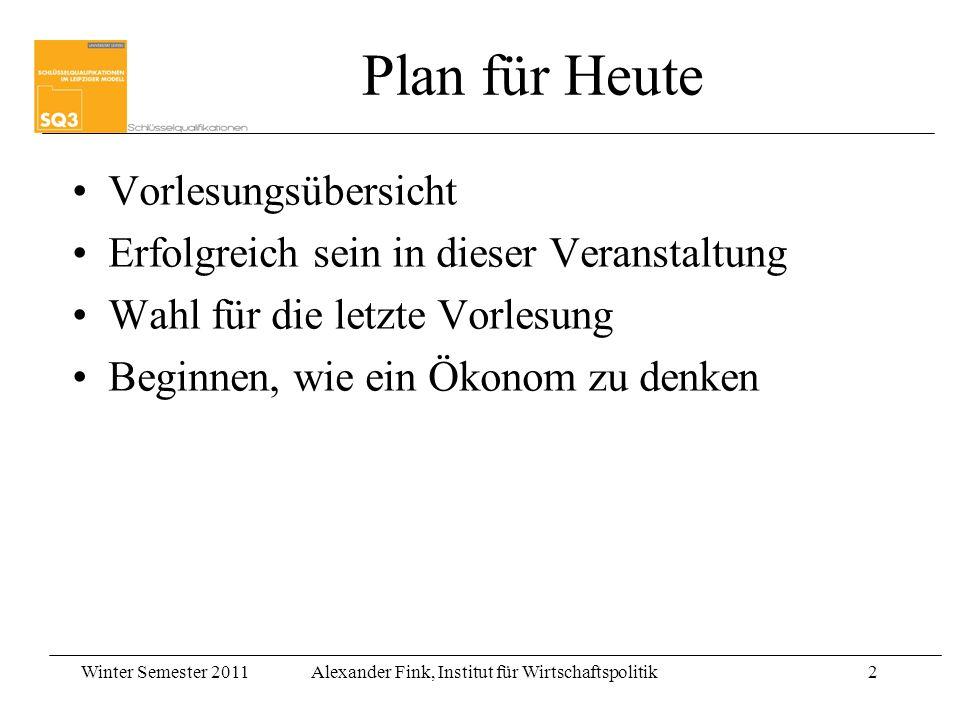 Plan für Heute Vorlesungsübersicht