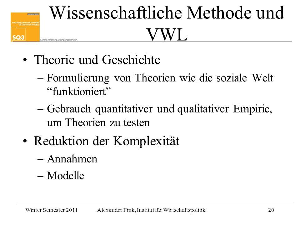 Wissenschaftliche Methode und VWL