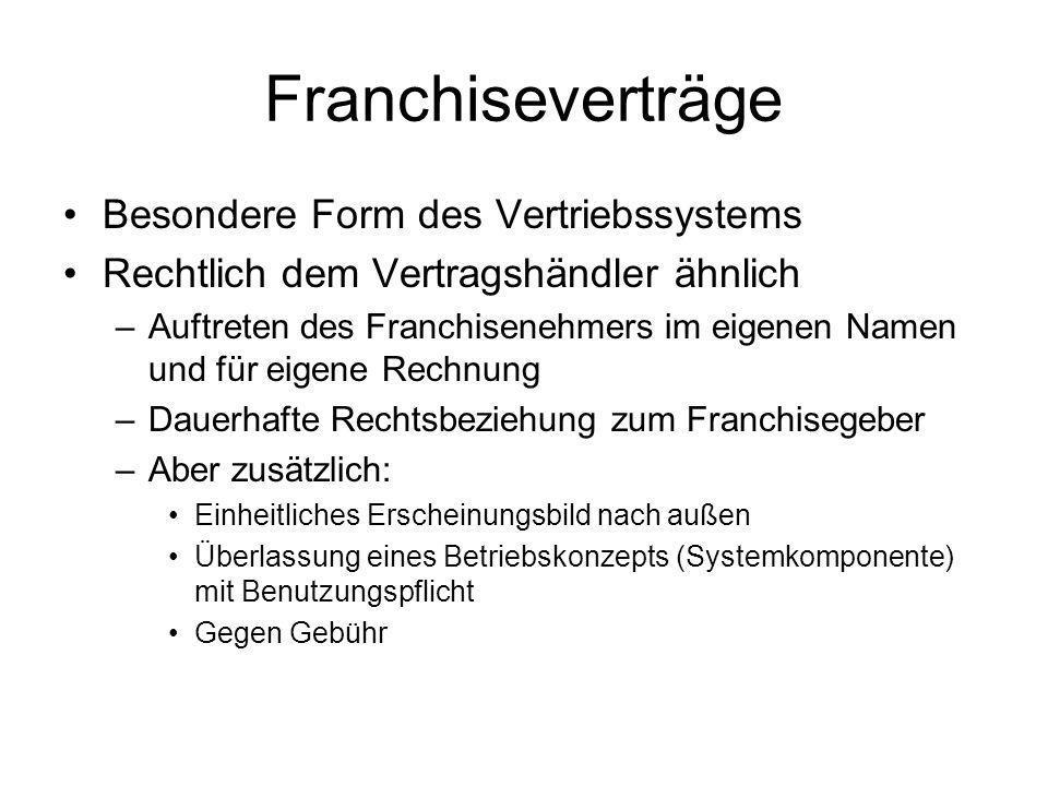 Franchiseverträge Besondere Form des Vertriebssystems