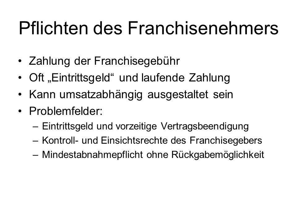 Pflichten des Franchisenehmers