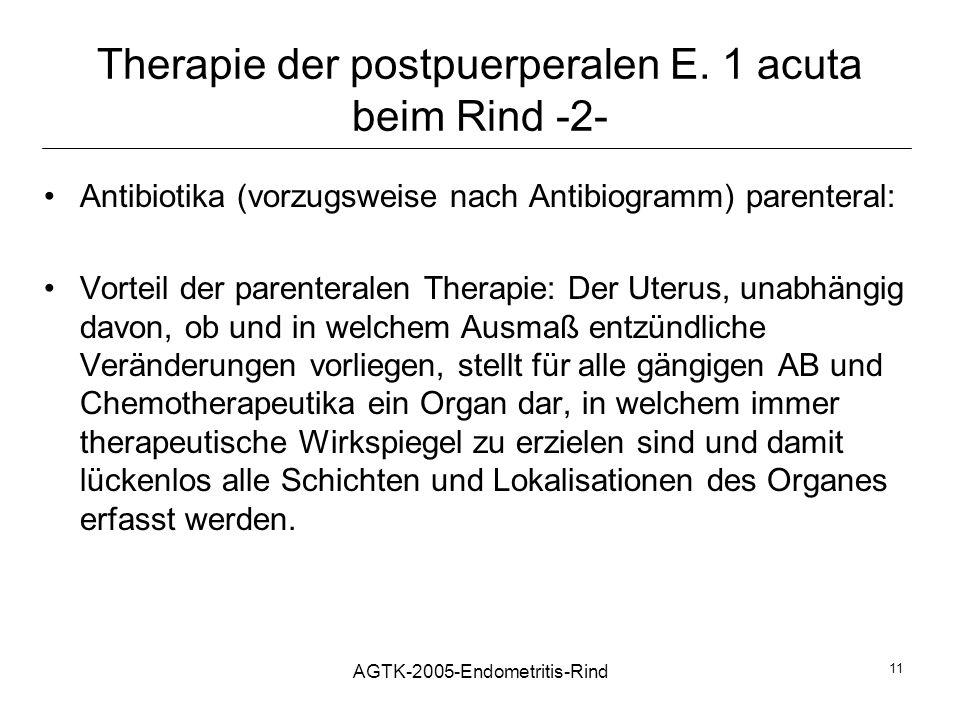 Therapie der postpuerperalen E. 1 acuta beim Rind -2-