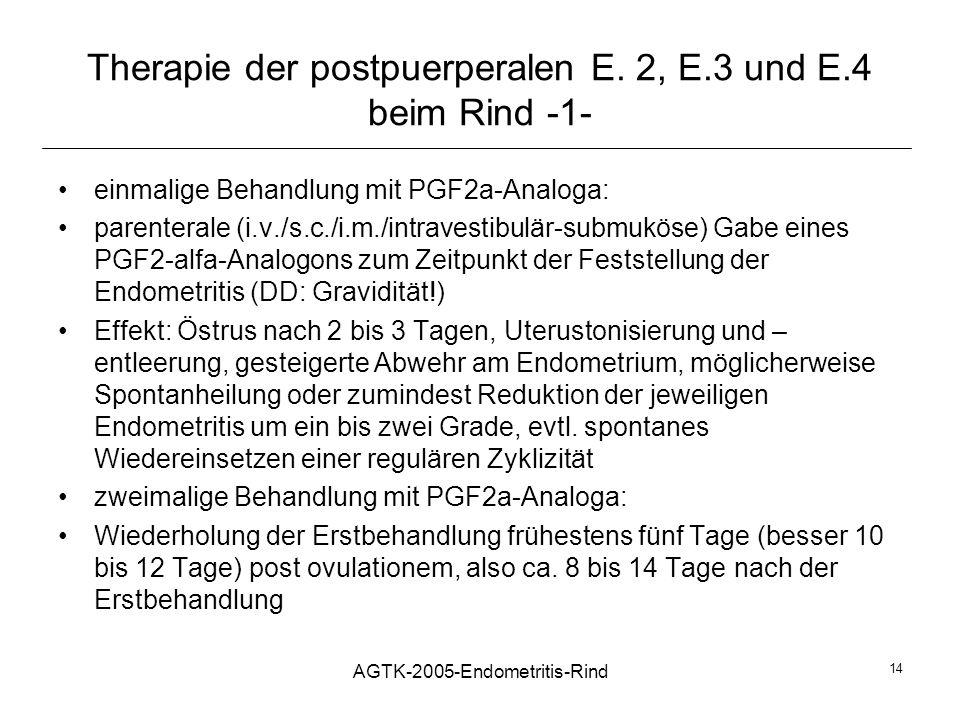 Therapie der postpuerperalen E. 2, E.3 und E.4 beim Rind -1-
