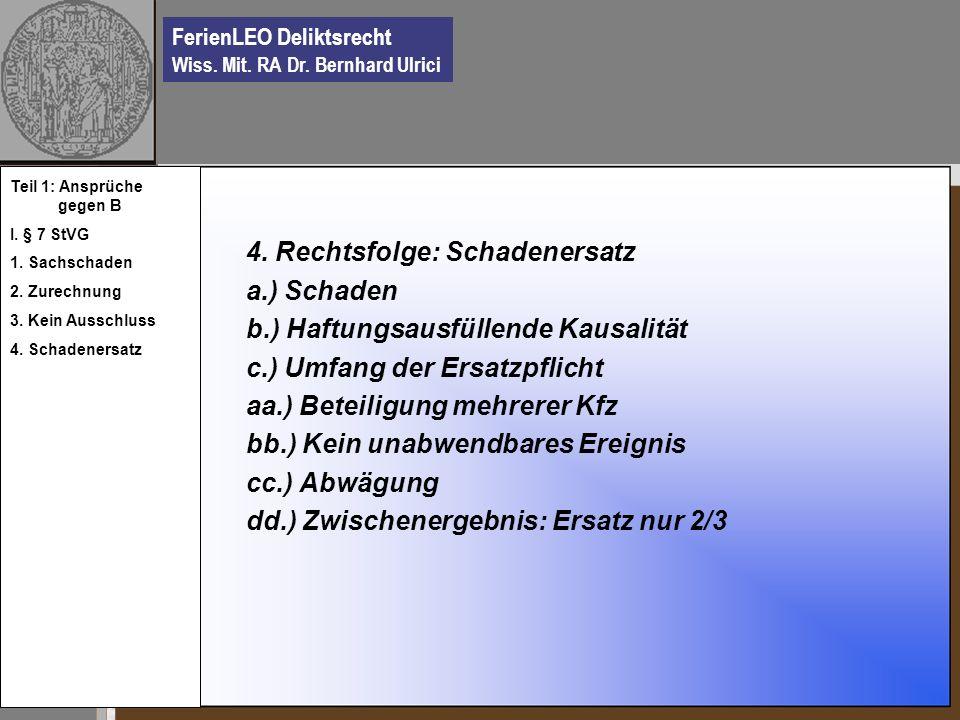 4. Rechtsfolge: Schadenersatz a.) Schaden