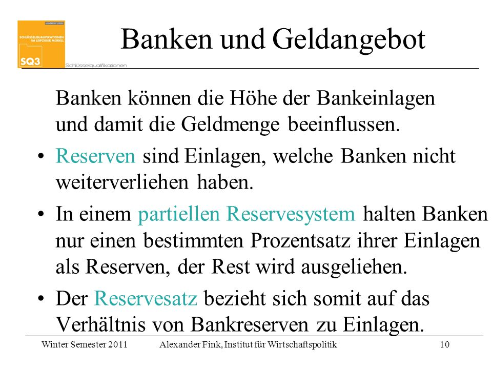 Banken und Geldangebot