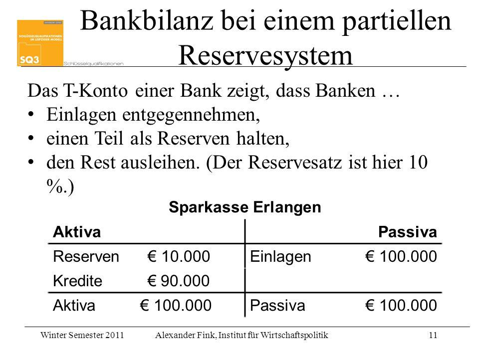Bankbilanz bei einem partiellen Reservesystem