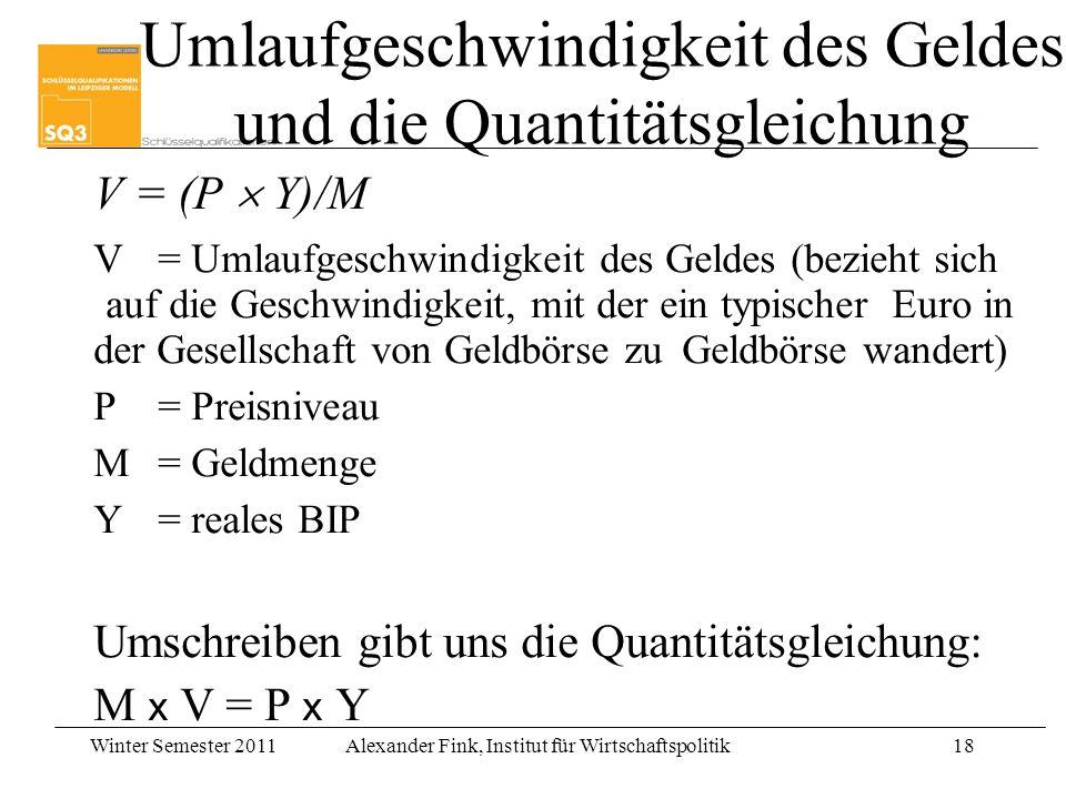 Umlaufgeschwindigkeit des Geldes und die Quantitätsgleichung